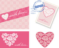 Decorative elements with pink hearts for event design Stock Images