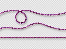 Decorative elements - realistic purple beads. royalty free illustration