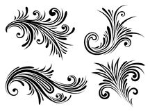 Decorative Elements Set. Isolated black floral decorative elements on white background Royalty Free Stock Photos