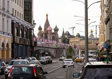 Decorative elements with the symbols of the World Cup on the bridge. Festive cityscape of Moscow. 2018.06.17, Moscow, Russia. decorative elements with the royalty free stock image