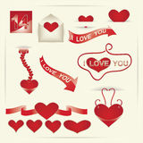 Decorative elements on Valentine's Day Stock Photo