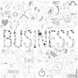Decorative elements of the word business. Business doodles. Typo Stock Photography