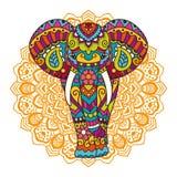 Decorative elephant illustration. Decorative elephant with mandala. Indian theme with ornaments. Vector  illustration Stock Photo