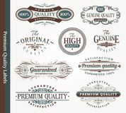 Decorative emblems of quality stock images