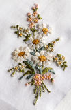 Decorative embroidery of a bouquet of flowers Royalty Free Stock Photography