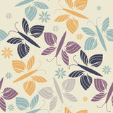 Decorative endless pattern with trendy flowers and butterflies Stock Photos