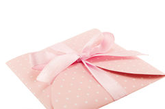 Decorative envelope. S with ribbon pink Royalty Free Stock Image