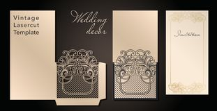Decorative envelope and greeting card template for laser cutting. Cover design, invitations, save date in art Nouveau. Style for wedding, romantic party. Vector royalty free illustration