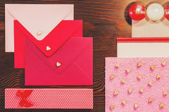 Decorative envelopes with hearts Royalty Free Stock Images