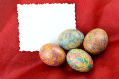 Decorative eggs and card Royalty Free Stock Photography
