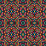 Decorative ethnic abstract love, heart, flowers pattern Stock Photos