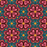 Decorative ethnic abstract love, heart, flowers pattern. Vector seamless Royalty Free Stock Photo