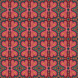 Decorative ethnic abstract love, heart, flowers pattern. Royalty Free Stock Image