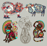 Decorative ethnic folk animals and bird in Royalty Free Stock Photography