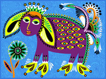 Decorative ethnic folk animals in Ukrainian. Traditional karakoko style - fantasy monsters, vector illustration Stock Image