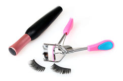 Decorative eyelashes, mascara and curling eyelashe Royalty Free Stock Photography