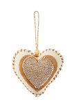 Decorative fabric heart isolated Royalty Free Stock Photography