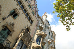 Decorative facade of Las Ramblas buildings in Barcelona. Decorative facade of building next to Gaudi architecture in Las Ramblas, Barcelona, Spain royalty free stock image