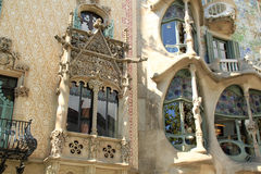 Decorative facades of Las Ramblas buildings in Barcelona. Decorative stone and tiled facades of building next to Gaudi architecture in Las Ramblas, Barcelona stock photography