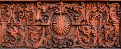 Decorative Facing Stone Carving. Ornate Building Stone. Buliding Design. Building Facade. Welsh Terracotta royalty free stock photography