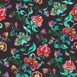 Decorative fairy flowers on dark background. Repeating pattern. Watercolor in Eastern European folk. Decorative fairy flowers at dark background. Repeating Stock Images