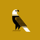 Decorative falcon on ochre background. Decorative falcon icon or logo on ochre background vector illustration