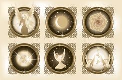 Decorative Fantasy Elements 1. Six illustrations of fantasy elements – an angel, a night sky and a moon, a rose, a gem, a dancing angel, two angels and birds Stock Photography