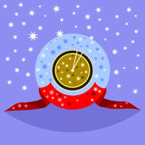 Decorative fantasy gold clock showing shortly after noon or midnight vector illustration