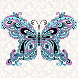 Decorative fantasy vintage butterfly. With grey seamless pattern (vector Royalty Free Stock Photography