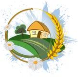 Decorative farm landscape Stock Image