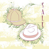 Decorative fashion illustration men's hats Royalty Free Stock Images