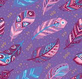 Tribal feathers pattern in blue, pink and purple colors. Vector creative illustration. Decorative feathers pattern. Tribal feathers in blue, pink and purple royalty free stock images