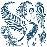Decorative feathers set Royalty Free Stock Images