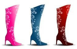 Decorative Female Boots With Heels Stock Photos
