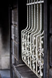 Decorative fence. White painted decorative metal bars of a fence Royalty Free Stock Images