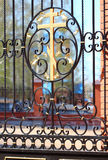 Decorative fence with cross Royalty Free Stock Photo