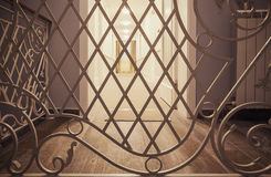 Decorative Fence in New Hotel. Details of a new hotel interior, decorative fence and halls Stock Image