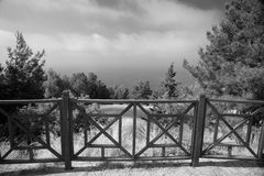 Decorative fence with rise in Alanya Castle. Black and white Stock Photo