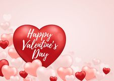 Romantic background for Valentine`s day. Decorative festive background for Valentine`s day with red heart balloon and lettering. Vector illustration Stock Image