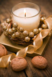 Decorative festive candles on the table. Royalty Free Stock Photography
