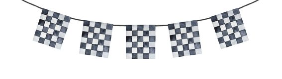 Decorative festoon garland with black and white checkered pattern. Square shaped flags. Hand painted watercolour drawing, cutout clipart element for cards royalty free stock photo