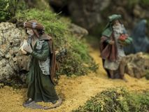 The way to belen. Decorative figures of traditional in Christmas of the portal of belen stock image
