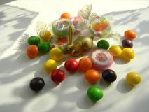 Decorative figurine Easter bunny with sweets. stock photos