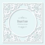 Decorative filigree frame with long shadows. royalty free illustration