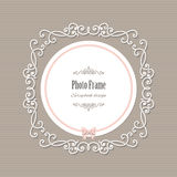 Decorative filigree round frame with bow. vector illustration