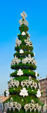 Decorative fir tree on street. Decorative fir tree on winter street, Moscow, Russia, East Europe stock photos