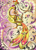 Decorative firebird with crown. On abstract branches of grapes on iridescent purple background Royalty Free Stock Photo