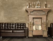 Decorative fireplace with candles Royalty Free Stock Image