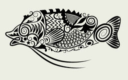 Decorative fish. Beautiful decorative animal with floral ornament style Stock Photos