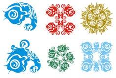 Decorative fish elements. Six decorative fish elements isolated on a white background Royalty Free Stock Photo